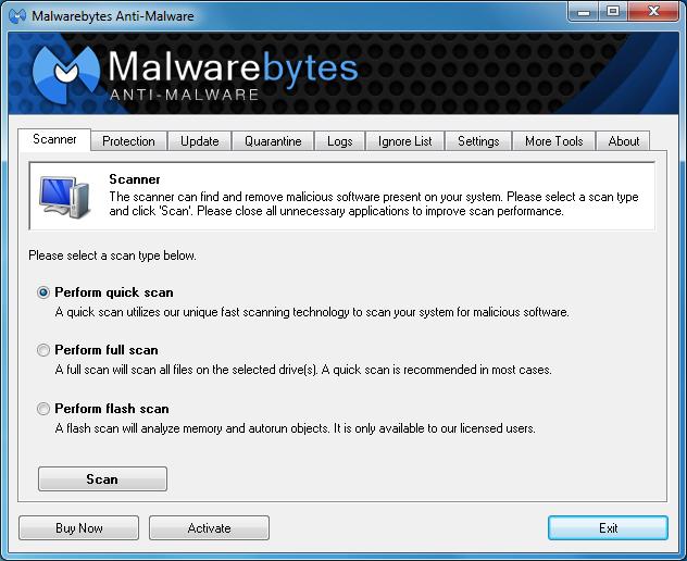 ������ Malwarebytes Anti-Malware 2.0.1.1004 ������ ��������� ������ ����� �������
