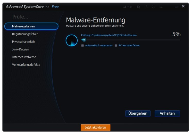 �������� ������� ������ ����� ������ �������� Advanced SystemCare FREE 7.2.1.434