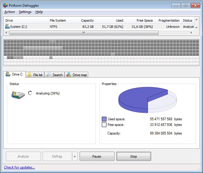 ������ ����� ������� ����� ����� Defraggler 2.18.945