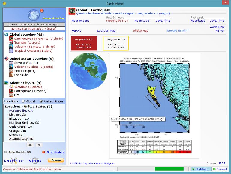 ������ ����� ����� ����� Earth Alerts 2014.1.40 �� ����� ����