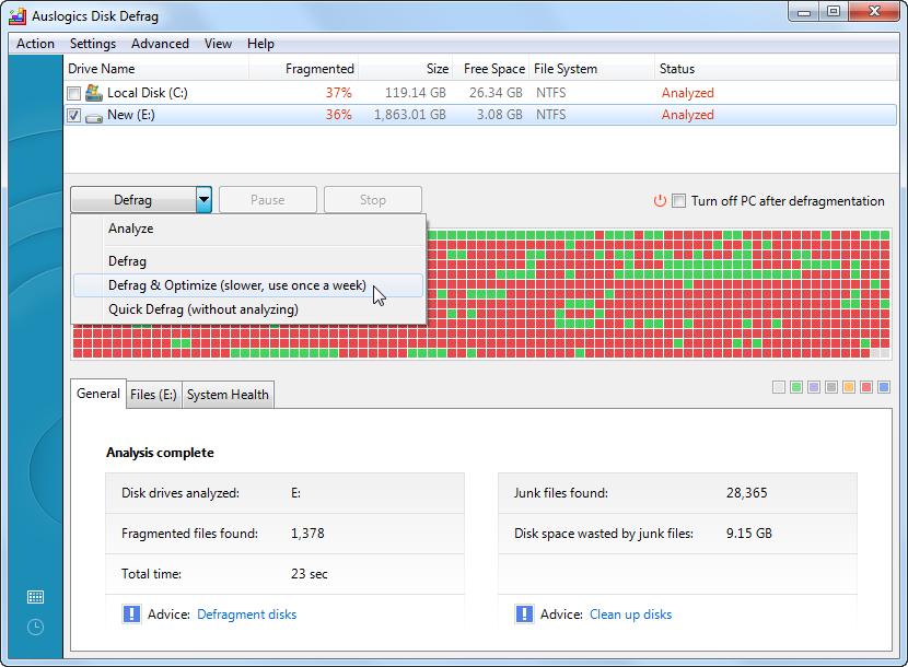 ������ Auslogics Disk Defrag 4.5.4.0 ������ ����� ����� �����